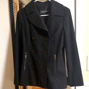 Black rivet wool coat- xs